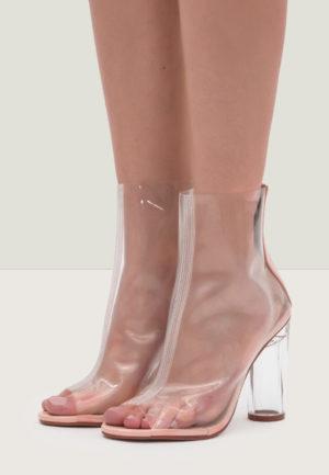 Botine Peep Toe Bettina Transparente pentru femei elegante si pline de stil