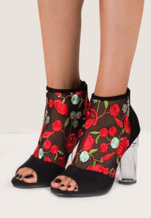 Botine Peep Toe Pearl Negre pentru femei elegante si pline de stil