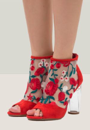 Botine Peep Toe Pearl Rosii pentru femei elegante si pline de stil