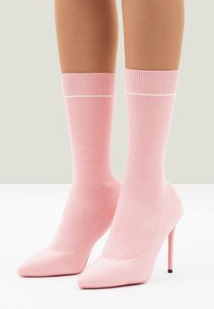 Botine cu toc roz lungi cu toc cui si varf ascutit potrivite pentru tinute elegante Aldus