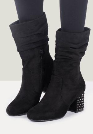 Botine cu toc Cayetana Negre pentru femei elegante si pline de stil