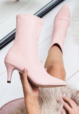 Botine cu toc Dunja Roz pentru femei elegante si pline de stil