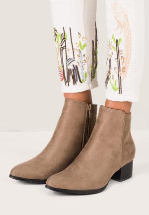Botine elegante kaki de ocazie cu toc mic perfecte pentru tinute stilate Emelina