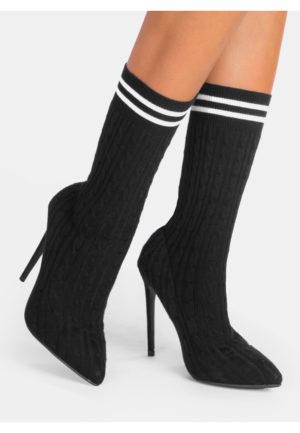Botine negre la moda stil soseta cu toc inalt si subtire pentru tinute casual pline de viata Kanta