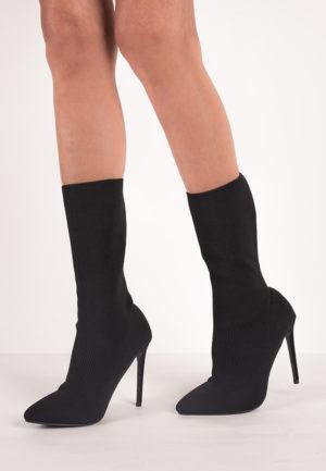 Botine cu toc Ligeia Black pentru femei elegante si pline de stil