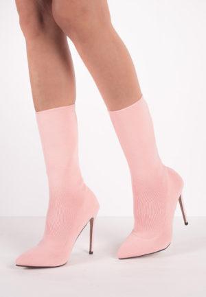 Botine cu toc Ligeia Pink pentru femei elegante si pline de stil