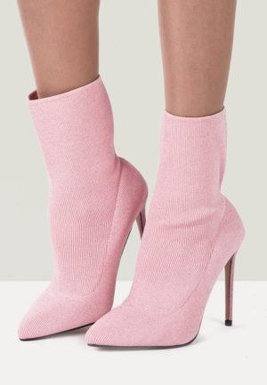 Botine stiletto roz de seara cu toc inalt si subtire pentru tinute pline de eleganta Micaela