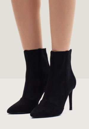 Botine stiletto negre de seara pentru femei, foarte elegante si comode cu toc inalt si subtire Praise
