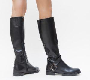 Cizme Negre de dama lungi pana la genunchi din piele ecologica cu catarame decorative Pena