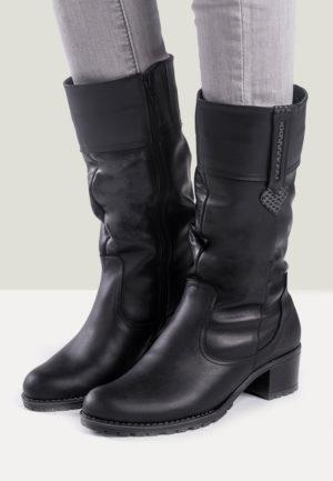 Cizme negre cu toc mic de dama, din piele naturala, foarte frumoase si elegante Ebba
