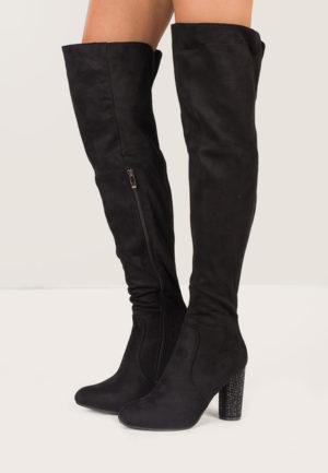 Cizme negre pentru femei, perfecte pentru seara, lungi peste genunchi cu toc inalt foarte comod Ethel