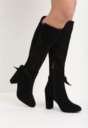 Cizme negre pana la genunchi elegante de seara cu toc mediu patrat si fermoar pe interior Francisca