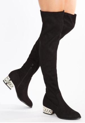 Cizme negre in care te vei simti confortabil in sezonul rece, de dama de iarna cu toc elegante Ilonka