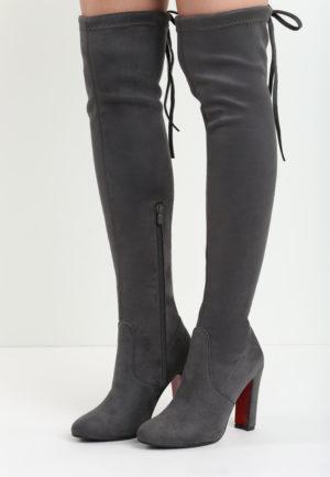 Cizme de seara gri inchis lungi peste genunchi elegante din piele eco intoarsa cu toc inalt Katka