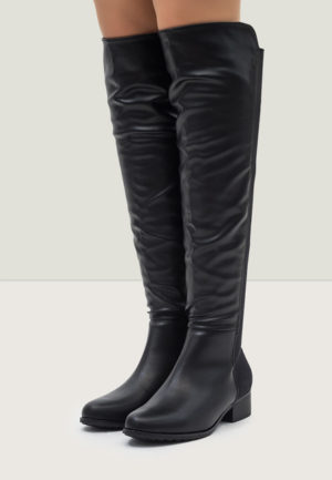 Cizme negre ieftine lungi peste genunchi cu toc mic, intr-un design plin de eleganta si stil Kefil