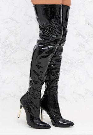 Cizme cu toc Likye II Negre feminine si moderne pentru femei