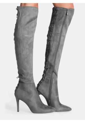Cizme Gri inchis elegante stiletto lungi peste genunchi cu varful ascutit Selena