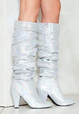 Cizme cu toc Silver Quin Argintii feminine si moderne pentru femei