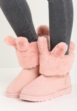 Cizme ugg roz elegante si imblanite decorate cu urechi dragute de iepuras Bunny Ears