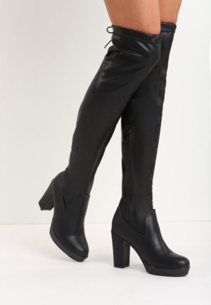 Cizme lungi Blanche Negre feminine si moderne pentru femei