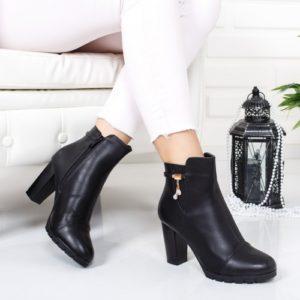 Botine Bavister negre cu toc foarte elegante si comode pentru femei
