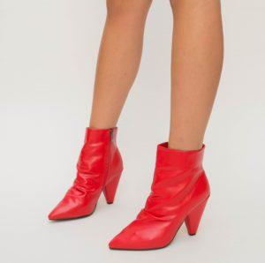 Botine Baxel Rosii cu toc elegante pentru femei