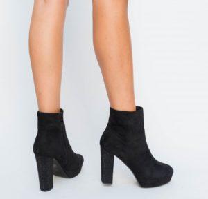 Botine Ciano Negre cu toc elegante pentru femei