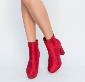 Botine Ciano Rosii cu toc elegante pentru femei