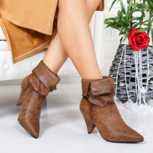 Botine Croci maro imprimeu floral foarte elegante si comode pentru femei