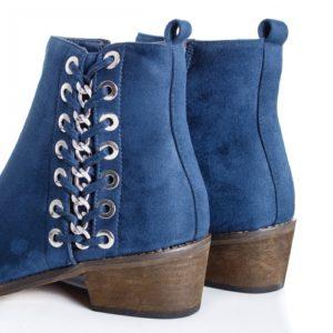 Botine albastre de iarna comode si confortabile cu talpa groasa si aplicatii metalice rotunde pe lateral Dariela