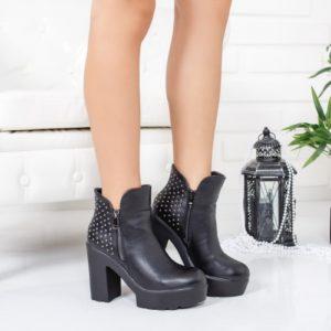 Botine Decovi negre cu fermoar foarte elegante si comode pentru femei