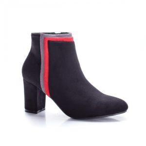 Botine dama negre cu toc gros elegante si moderne realizate din material calduros si confortabil Detylo