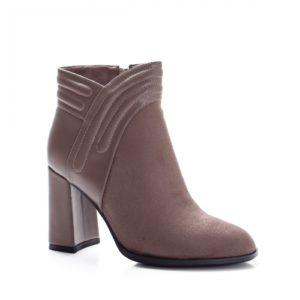Botine kaki elegante si calduroase de seara cu toc inalt gros din piele eco cu aspect intors Disemi
