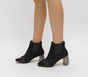 Botine negre elegante de ocazie pentru femei, accesorizate cu fundita pe varful ascutit Enache