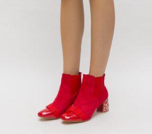 Botine Enache Rosii cu toc elegante pentru femei