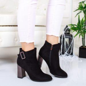 Botine Gallo negre cu toc foarte elegante si comode pentru femei