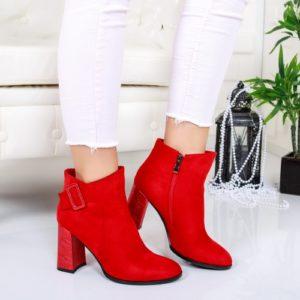 Botine Gallo rosii cu toc foarte elegante si comode pentru femei