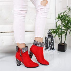Botine Heniza rosii cu toc foarte elegante si comode pentru femei