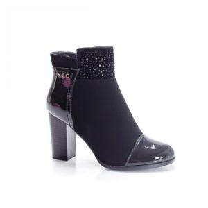 Botine Heslin negre cu toc foarte elegante si comode pentru femei
