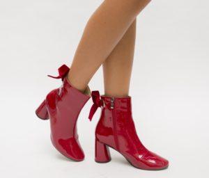 Botine Holand Rosii cu toc elegante pentru femei