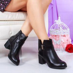Botine Ianger negre cu toc gros foarte elegante si comode pentru femei