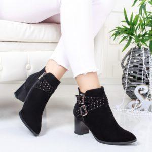 Botine Inameli negre cu toc foarte elegante si comode pentru femei