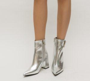 Botine Kanto Argintii cu toc elegante pentru femei