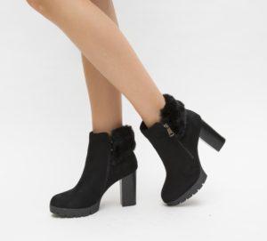 Botine Kurent Negre cu toc elegante pentru femei