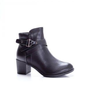 Botine Kyara negre cu toc gros foarte elegante si comode pentru femei