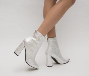 Botine Lemano Argintii cu toc elegante pentru femei