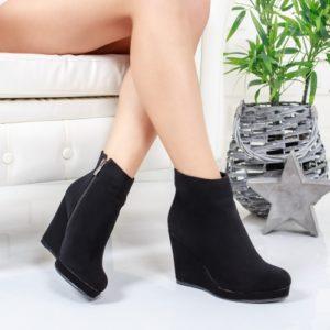 Botine Losali negre cu platforma foarte elegante si comode pentru femei