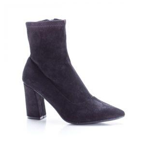 Botine negre elegante si ieftine pentru ocazie cu toc inalt de 8cm realizate dintr-un material textil calduros si comod Mamdo
