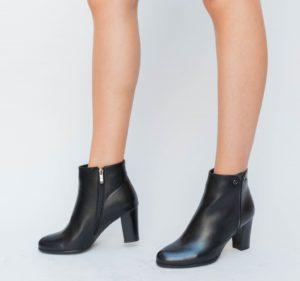 Botine Manolis Negre cu toc elegante pentru femei