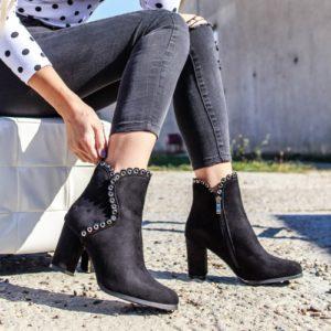 Botine Mezzavia negre cu toc foarte elegante si comode pentru femei
